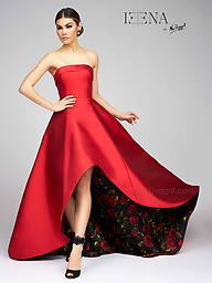 Mac Duggal 25279 Red Bustier Gown This strapless A-line with a high-low silhouette will make any woman feel like royalty. A peek-a-boo black rose pattern is shown from the high-low front and hidden by an exaggerated sweep train.
