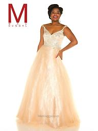 """Mac Duggal 65037 Nude/Silver Cap Sleeve Gown There is no doubt that this is the true """"belle of the ball"""" evening gown. Mac Duggal Style is a fabulous plus size prom dress that features off the shoulder straps and a v-neckline."""