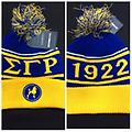 SgRho Beanie - Blue and gold sgrho beanie with the year, symbol and poodle