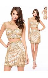 Lucci Lu 8127 Gold Two Peice Stunning Lucci Lu two peice design has a unique beading design and cap sleeves.