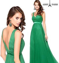 Lucci Lu 93001 Green Deep-V Gown This Lucci Lu design is fit for a goddess with its deep v-neckline, flowy chiffon skirt, satin waistband, and deep v-back.