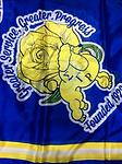 SgRho Satin Scarf - Blue white and gold satin scarf 60 inches long with greater services, greater progress founded 1922 with poodle and rose