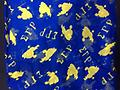 SgRho 70' Scarf - Blue and yellow scarf 70' long letters and poodles