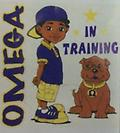 Omega In Training Kid Shirt - White kid in training shirt. omega little boy and dog. Newborn sizes are available also, just leave the size in the notes!