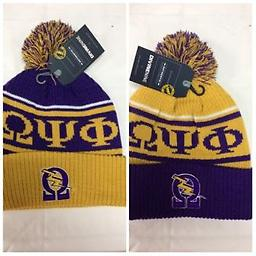 Omega Beanie Omega beanie with symbol and puff ball in purple and gold
