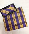 Omega Bow Tie w/hankie - Purple and gold omega bow tie with letters