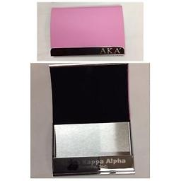 AKA Engraved Business Card Holder AKA pink business card holder with silver lettering