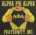 Alpha Frat T Shirt - Black Alpha T Shirt with fraternity inc. and man opening shirt