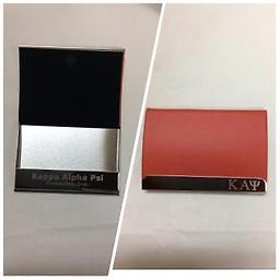Kappa Business Card Holder Red business card hold with kappa engraved