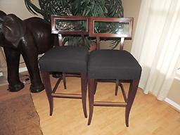 "2 Schnadig Glass Back 30"" Barstools 2 Schnadig Glass Back 30"" Barstools"