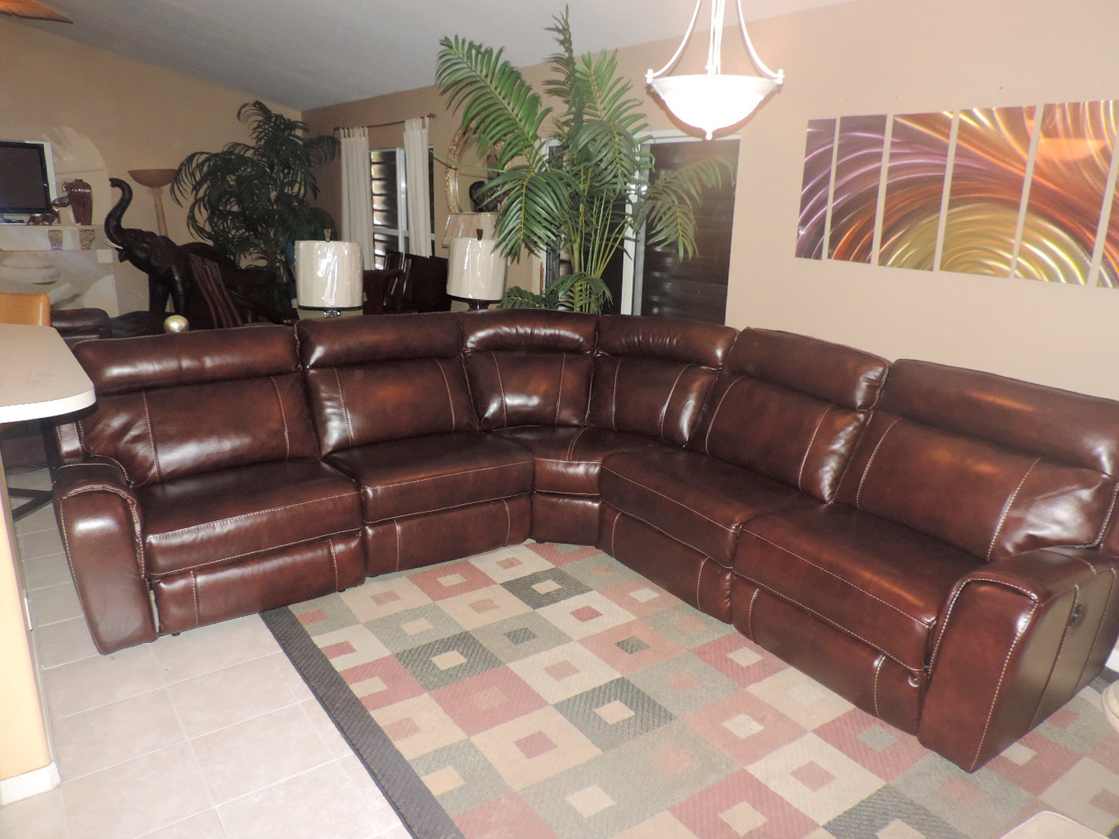 Macy s Cabernet Leather Triple Power Reclining 5 Pc Sectional