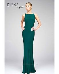 Mac Duggal Green Slip Gown 25220 This elegant form fitting gown features a low back and flattering seams starting at the hips and going down the legs.