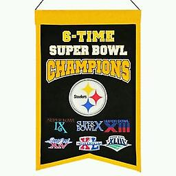 6-Time Super Bowl Champions Banner 100% Wool 14w X 22h