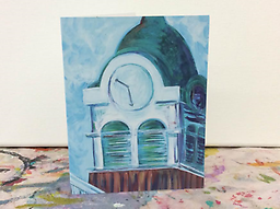 Clocktower Notecards Each Clocktower notecard is printed on high quality card stock and folded. 7 cards in this pack and all are printed with the Oxford Clocktower image and come with a matching white envelop.