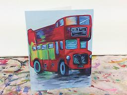 Double Decker Bus Notecards Studio Whimzy notecards are printed on thick, high quality cardstock and folded. Each set includes 7 cards with the image shown printed on the front of the card and matching white envelopes.