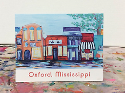 Oxford, Mississippi Square Notecards Studio Whimzy notecards are printed on thick, high quality cardstock and folded. Each set includes 7 cards with the image shown printed on the front of the card and matching white envelopes.