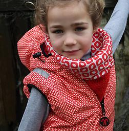 Ducksday Bodywarmer (Funky Red) Reversible! One side printed, one solid.