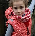 Ducksday Bodywarmer (Funky Red) - Reversible! One side printed, one solid.