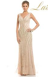 Lara 32600 Champagne V-neck w/ Faded Beading A flattering V-neckline with open V-back showcases your supple skin. The body-conscious silhouette is encrusted with highly-chosen beads that fade down as it reach the full length hem.