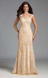 Lara 32574 Champagne Lace w/ Sheer High-neck Delicate lace appliques are stitched throughout this floor-length stunner, including along the ultra-sheer illusion neckline and over the chic cap sleeves.