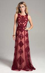 Lara 32906 Wine High-Neck w/ Sheer Geometric Beaded Overlay This sleeveless dress boasts sheer printed overlay throughout. The nipped waist leads to a softly flared full length skirt. This gown is full length, making it an elegant look for any formal occasion.