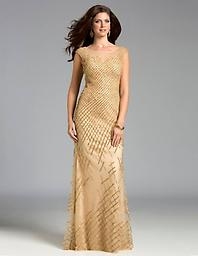 Lara 32771 Gold Column Beaded Strapless Have all eyes on you in this fully hand-beaded column, strapless gown.