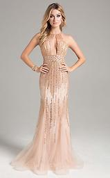 Lara 32963 Rose Gold Sleeveless High Neck w/ Cutout This sleeveless dress has a high neck with a bold cutout at the center of the bust. Rich beading creates the ultimate shine throughout. The bodice is fitted and moves into a flared skirt.