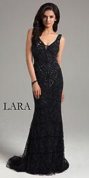 Lara 32836 Black V-Neck w/ Geometric Beading This long gown features a V-neckline with sheer detail at center front. The back is open showcasing your lovely curves. Patterned beading decorates the entire outfit.