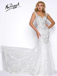 Mac Duggal 65684 in Ivory and Teal Ivory, mermaid prom dress with bead and lace applique and sweetheart neckline.