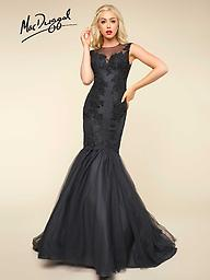 Mac Duggal 65798 Black or Ivory High Neck Mermaid Gown Featuring a sharp sweetheart neckline with a high-neck tulle, this Mac Duggal mermaid gown is bound to blow everyone away, especially when they see it without the detachable mermaid skirt.