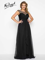 Mac Duggal 65974 Black/Multi or Mint High Neck Embellished neckline with ruched chiffon bodice and overskirt with satin lining.