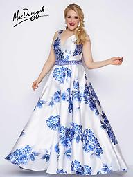Mac Duggal 77176 Blue Floral V-Neck Ballgown The blue floral print on this Mac Duggal ballgown is to die for. It also shows off a v-neck bodice and beaded belt.