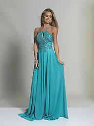 480b4b4617c Dave and Johnny 2143 Turquoise and Gray Gown