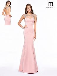 Lucci Lu 8112 Blush Mermaid Gown This gorgeous Lucci Lu mermaid design features a sweetheart neckline as well as an open back. This dress is accented with dazzling beading and cap sleeves.