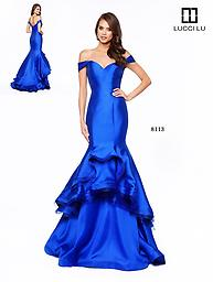 Lucci lu 8113 Royal Blue Layered Mermaid Gown This Lucci Lu mermaid gown emits so much character with the voluminous, multi-layered, taffeta skirt and off the shoulder straps.