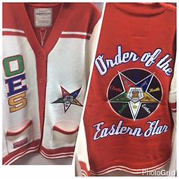OES 2016 Cardigan Sweater OES red and white fully loaded sweater. Front side: OESletters with star. Back side: large star with order of eastern star