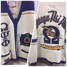 Omega 2016 Cardigan Sweater Omega sweater front Omega letters with shield. Back Omega Psi Phi with lighting bolt