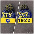 SgRho 2016 Beanie - SgRho blue and gold beanie with poodle, founders year and puff ball