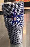 Dallas Cowboys Silver Carbon Fiber Hydrodipped 30 Oz. RTIC (Gloss) - 30 Oz. RTIC Hydrodipped in Silver Carbon Fiber over Cowboys Blue w/Logo