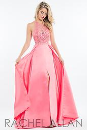 Rachel Allan 2081 Coral, Lilac, Mint Matte Satin caped ball gown with beaded halter top and open back.