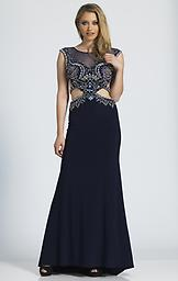 Dave & Johnny A4268 Jersey Navy Heavily beaded cap sleeve bodice with a fitted jersey skirt and open back.