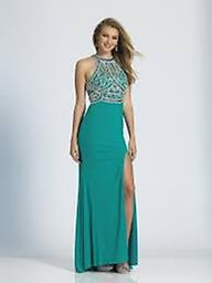 Dave & Johnny A4282 Jersey Sparkle Top Teal This form fitting D&J design features a dazzling sparkle top and leg slit that you're bound to love!