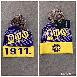 Omega 2016 Beanie Omega purple and gold beanie with puff ball