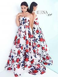 MacDuggal 30275 Bustier Gown, White Multi Floral sleeveless dress with sweep train from the iEENA for Mac Duggal collection. Available in sizes 0 - 14.