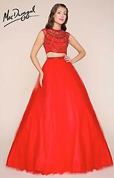 MacDuggal 65830 Two Piece High Neck, Red, Royal Two-piece, fit and flare ball gown with beaded sheer illusion top, beaded waistline and floor length tulle skirt with satin lining. Available in Red and Royal.