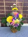 pineapple arrangement - our awesome unique floral arrangement in a pineapple! Yes a pineapple! get yours today!! smells so amazing!!!