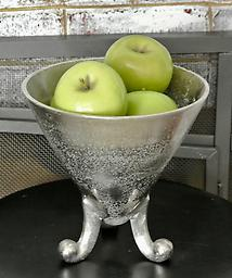 Silver Footed Pendant Vase The 3 scrolling feet of this conical metal vase give it a whimsical feel.