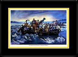 """Lord Stanley And The Penguins Crossing the Allegheny (Framed) Framed and Double Matted 16"""" x 22"""" (11"""" x 16"""" Print) by Fred Carrow (Signed) Prints Available in Store"""