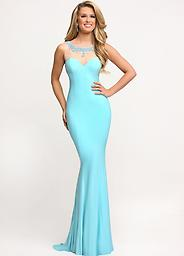 Sparkle 71644 Fitted Jersey Gown This form flattering Sparkle gown features a mesh neckline and back that are adorned with glittering rhinestones.
