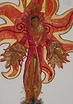 Phoenix - Fire - A portrait of Phoenix, representing the element Fire. She is depicted in front of a fiery sun